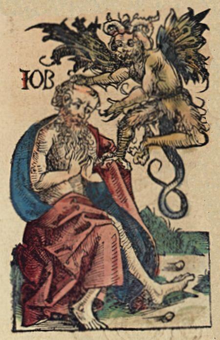 El justo Job y el diablo. Xilografía coloreada de las crónicas de Nuremberg (1493). Fuente.