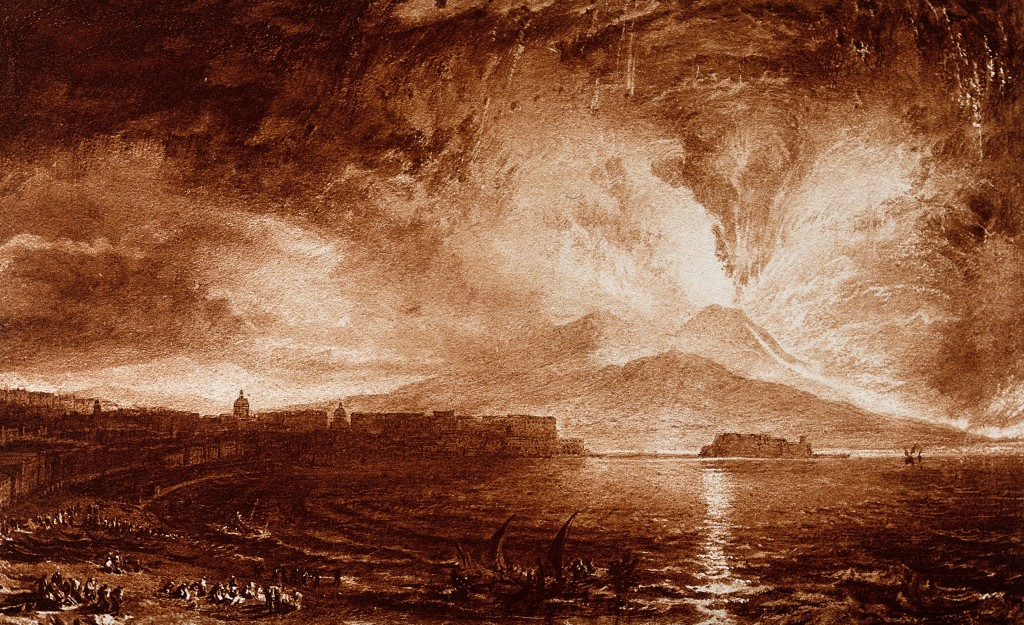 V0025243 Vesuvius in eruption, with spectators on the beach at Naples